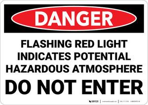 Danger: Flashing Red Light Indicates Hazardous Atmosphere Do Not Enter - Wall Sign