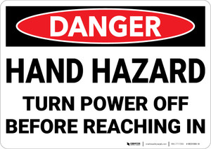 Danger: Hand Hazard Turn Power Off - Wall Sign