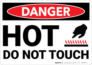 Danger: Hot Do Not Touch Sign With Icon - Wall Sign