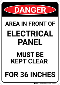 Danger: Keep Panel Clear - Wall Sign