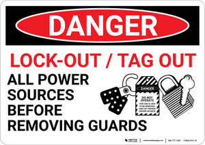 Danger: Lock Out Tag Out Sign With Graphic - Wall Sign