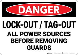 Danger: Lockout Tagout Power Before Removing Guards - Wall Sign