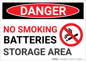 Danger: No Smoking Battery Storage - Wall Sign