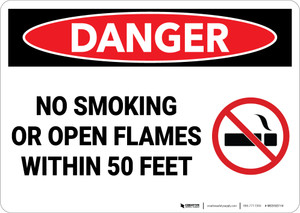 Danger: No Smoking Open Flames Within 50 Feet - Wall Sign