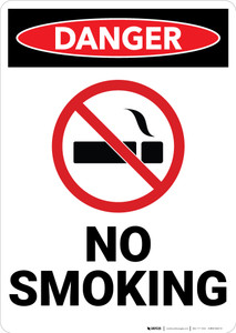 Danger: No Smoking Sign With Icon - Wall Sign