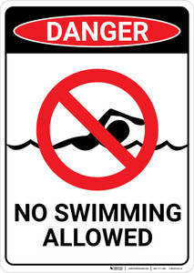 Danger: No Swimming Allowed - Wall Sign