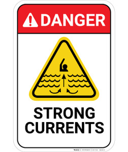 Danger: Strong Currents - Wall Sign