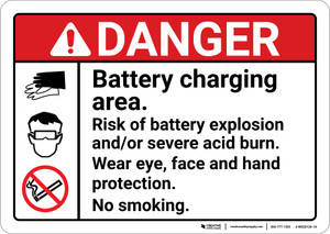 Danger: Battery Charging Area Risk of Battery Explosion ANSI - Wall Sign