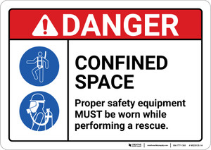 Danger: Confined Space Proper Safety Equipment Must Be Worn ANSI - Wall Sign
