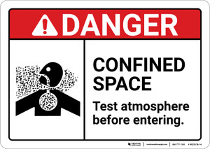 Danger: Confined Space Test Atmosphere With Icon ANSI - Wall Sign