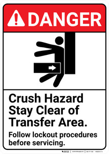 Danger: Crush Hazard Stay Clean of Transfer Area Lockout ANSI - Wall Sign
