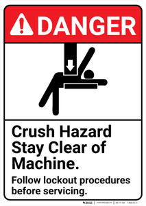 Danger: Crush Hazard Lockout ANSI - Wall Sign