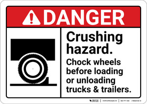 Danger: Crushing Hazard Chock Wheels ANSI - Wall Sign