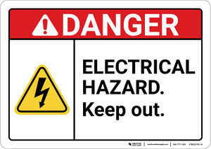 Danger: Electrical Hazard Keep Out ANSI - Wall Sign