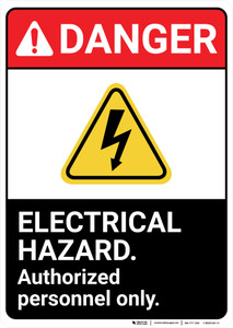 Danger: Electrical Hazard Authorized Personnel Only ANSI - Wall Sign