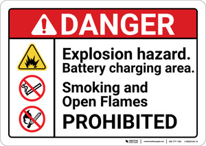 Danger: Explosion Hazard Battery Charging Area ANSI - Wall Sign