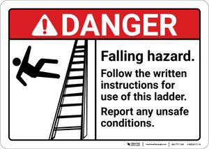 Danger: Falling Hazard Follow The Written Instructions ANSI - Wall Sign