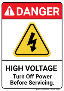 Danger: High Voltage Turn Off Power Before Servicing ANSI - Wall Sign