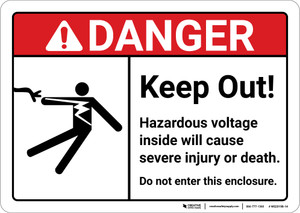 Danger: Keep Out Hazardous Voltage ANSI - Wall Sign