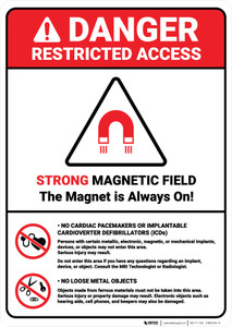 Danger: Magnetic Field Cardiac Pacemakers ANSI - Wall Sign