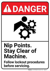 Danger: Nip Points Lockout ANSI - Wall Sign