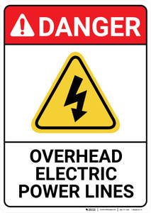 Danger: Overhead Electric Power Lines ANSI - Wall Sign