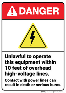 Danger: Overhead High Voltage Lines Contact Result In Death ANSI - Wall Sign