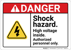 Danger: Shock Hazard High Voltage ANSI - Wall Sign