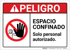 Danger: Confined Space Spanish ANSI - Wall Sign
