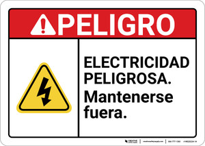 Danger: Electrical Hazard Keep Out Spanish ANSI - Wall Sign
