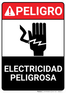 Danger: Electrical Hazard Keep Out Landscape Spanish ANSI - Wall Sign