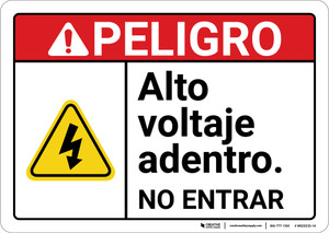 Danger: High Voltage No Entry Spanish ANSI - Wall Sign