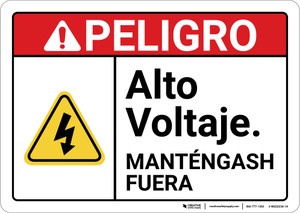 Danger: High Voltage Keep Out Spanish ANSI - Wall Sign