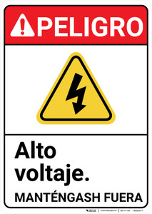 Danger: High Voltage Stay Out Hazard with Graphic Spanish ANSI - Wall Sign