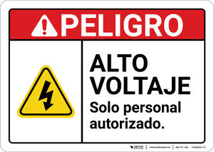 Danger: High Voltage Authorized Personnel Only Hazard Spanish ANSI - Wall Sign