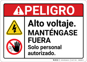 Danger: High Voltage Stay Out Personnel Only Hazard with Graphic Spanish ANSI - Wall Sign