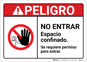 Danger: Permission is Required to Enter with Graphic Spanish ANSI - Wall Sign