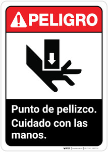 Danger: Spanish Pinch Points Watch Hands Spanish ANSI - Wall Sign