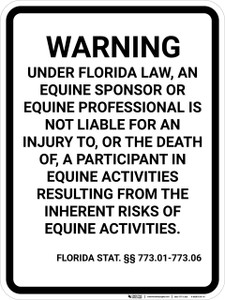 Florida Equine Liability FL  - Wall Sign