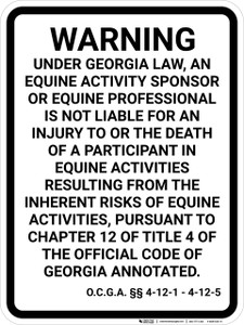 Georgia Equine Liability GA  - Wall Sign