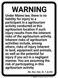Maine Agricultural Liabilities - Wall Sign
