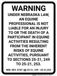 Nebraska Equine Liability NE  - Wall Sign