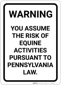 Risk Warning of Equine Activities - Pennsylvania Law - Wall Sign