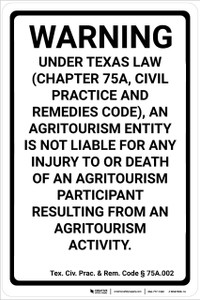 Texas Equine Liability TX - Wall Sign