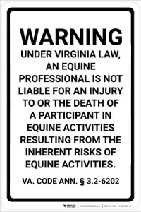 Virginia Equine Liability VA - Wall Sign