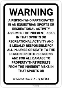 Arizona Equine Liability AZ - Wall Sign