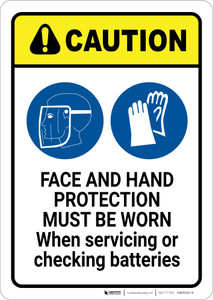Caution: Face and hand Protection Must be Worn with Graphic - Wall Sign