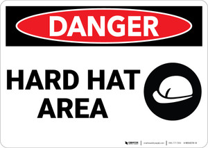 Danger: Warning Hard Hat Area - Wall Sign