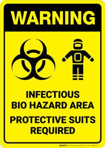 Warning: Infectious Bio Hazard Area Protective Suits Required with Graphic - Wall Sign