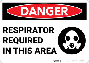 Danger: Respirator Required Area Sign With Icon - Wall Sign